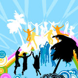 Silhouettes dancing. On a rainbow Royalty Free Stock Photo
