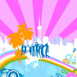 Silhouettes dancing. On a rainbow Royalty Free Stock Images