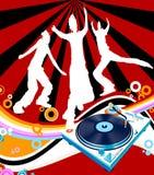 Silhouettes dancing. Teens having fun; silhouettes dancing on a rainbow Stock Photos