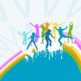 Silhouettes dancing. On a rainbow Royalty Free Stock Image