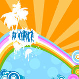 Silhouettes dancing. Summer feeling; silhouettes dancing on a rainbow Royalty Free Stock Photography