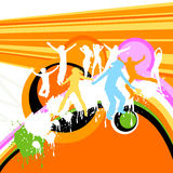 Silhouettes dancing. Happy kids; silhouettes playing on a rainbow Royalty Free Stock Images