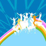 Silhouettes dancing. Happy silhouettes playing; abstract design Royalty Free Stock Image