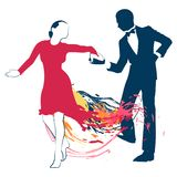 Silhouettes of a dancing couple. The girl in the red dress abstract with colored spots and the silhouette of dancer men on white background stock illustration