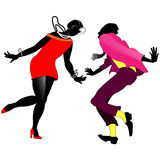 Silhouettes of dancing couples Charleston. On a transparent background Royalty Free Stock Photos