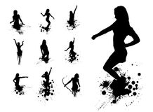 Silhouettes of dancing girls Royalty Free Stock Photos
