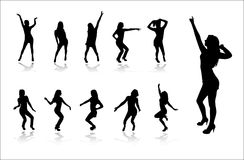Silhouettes of dancing girls Stock Photography