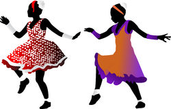 Silhouettes of dancing girls Royalty Free Stock Photography