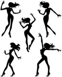 Silhouettes of dancing girls. Five black silhouettes of beautiful dancing girls Stock Photos