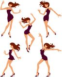 Silhouettes of dancing girls. Five silhouettes of beautiful dancing girls Royalty Free Stock Image