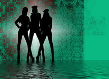 Silhouettes of dancing girls Royalty Free Stock Images