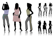 Silhouettes of dancing girls Royalty Free Stock Photo