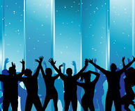 Silhouettes of dancing girls and boys. In a nightclub Royalty Free Stock Images