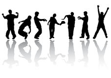 Silhouettes of dancing people. Silhouettes of people dancing modern dances Royalty Free Stock Photo