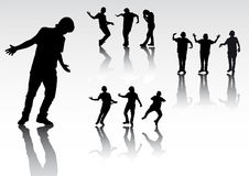 Silhouettes of dancing people. Silhouettes of people dancing modern dances Stock Image