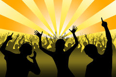 Silhouettes of dancing people. In night club Royalty Free Stock Photography