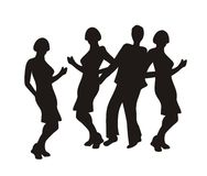 Silhouettes of dancing people. Drawn on a white background Stock Photos