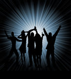Silhouettes of dancing people Stock Images