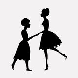 Silhouettes of dancing people. Silhouettes of dancing mother and daughter Royalty Free Stock Photography
