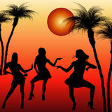 Silhouettes of dancing women Stock Images