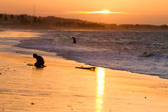 Silhouettes dans le coucher du soleil Images libres de droits