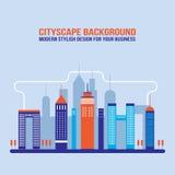 Silhouettes de bâtiment de ville de fond de paysage urbain Photo stock