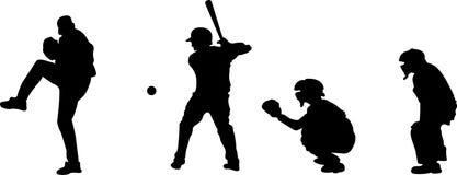 Silhouettes de base-ball Images libres de droits