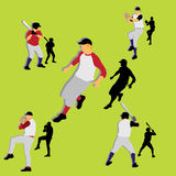 silhouettes de base-ball Images libres de droits