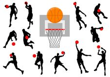 silhouettes de basket-ball Photographie stock