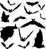 Silhouettes de 'bat' Image stock