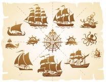 Silhouettes de bateaux de navigation réglées illustration stock