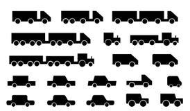 Silhouettes de beaucoup de transport Photographie stock
