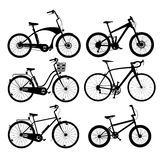 Silhouettes de bicyclette Photographie stock libre de droits