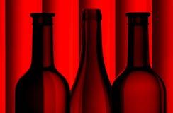 Silhouettes de bouteille de vin Images libres de droits