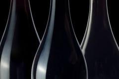 Silhouettes de bouteille de vin Photographie stock libre de droits