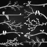 Silhouettes de branche de style de tableau Images libres de droits