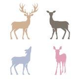 Silhouettes de cerfs communs réglées Photographie stock