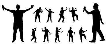 Silhouettes de chanteur Photo libre de droits