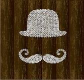 Silhouettes de chapeau et de moustache de lanceur Images libres de droits
