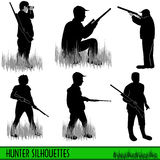 Silhouettes de chasseur Photo stock