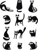 Silhouettes de chat noir Image stock