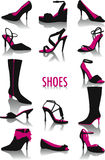 Silhouettes de chaussures Images stock