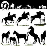Silhouettes de cheval de vecteur Photos stock
