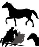 Silhouettes de chevaux Photo stock