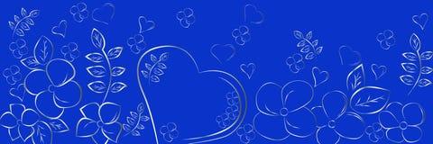 Silhouettes de coeur et de fleurs sur un fond bleu Beau contexte panoramique abstrait illustration libre de droits