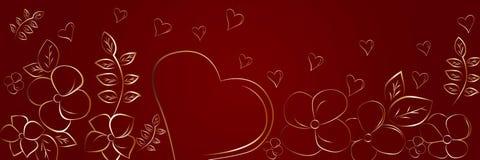 Silhouettes de coeur et de fleurs sur un fond rouge Beau contexte panoramique abstrait illustration libre de droits