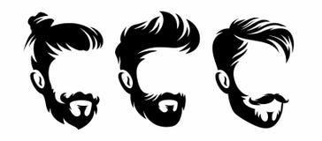 Silhouettes de coiffure d'hommes de vecteur, aucune illustration de label de visage photo libre de droits