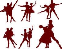 Silhouettes de couples de ballet illustration stock