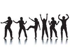 Silhouettes de danse Images stock