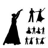 Silhouettes de danseurs Photographie stock libre de droits
